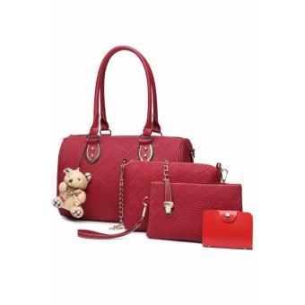 Elena X-522 5 in 1 Premium Bag Set (Red)With Mini Teddy - 2