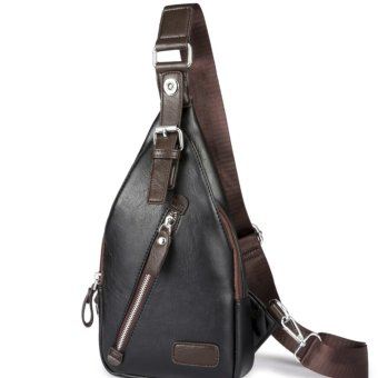 Elite Men Sling Bag / Crossbody Bag / PU Leather Bag - Zipper Black