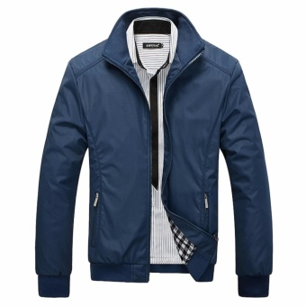 Encontrar New Men Solid Business Classic Bomber Jackets M-5XL (Navy Blue) - intl