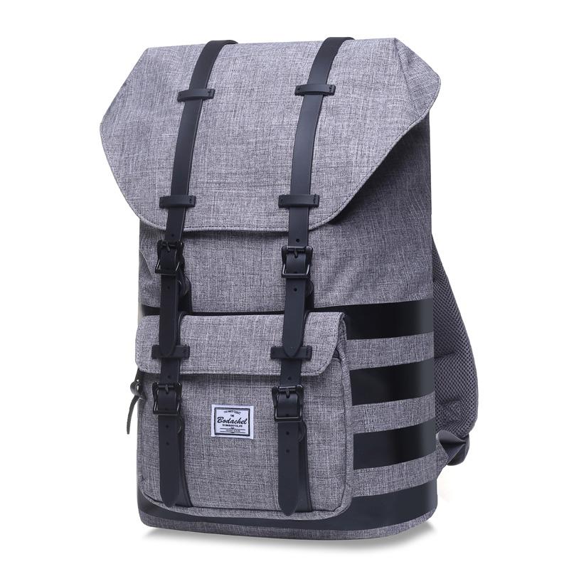 England men's high school college student's school bag backpack (Gray + four black strip)