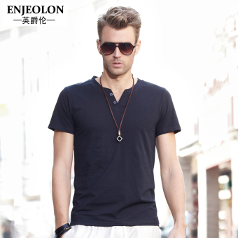 Enjeolon European and American solid color Short sleeve men base shirt T-shirt (Black)
