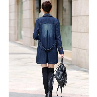 EOZY 2017 New Fashion Women's Denim Jacket Korean Style Spring Autumn Female Lapel Long-sleeved Double Breasted Slim Long Jacket Wind Coat Overcoat Outerwear (Blue) - intl - 3