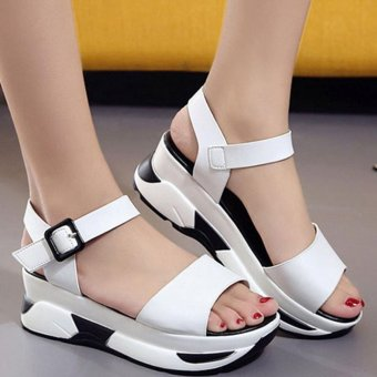 EOZY Korean Fashion Summer Women PU Leather High-Heeled Shoes Casual Peep Toe Wedge Sandals Heeled Shoes (White) - intl
