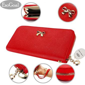 EsoGoal 2017 Fashion Lady Women Clutch Leather Long Wallet Card Holder Purse Bow Handbag (Red) - intl