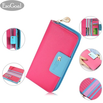 EsoGoal 2017 Women's Multi-card Wallet Clutch Purse Long Zipper Handbag Organizer Card Holder (Hot Pink) - intl