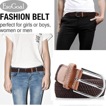 EsoGoal Braided Stretch Belt Canvas Fabric Woven Elastic Casual Belt for Men and Women (Brown) - intl Price Philippines