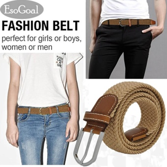 EsoGoal Braided Stretch Belt Canvas Fabric Woven Elastic Casual Belt for Men and Women (Khaki) - intl Price Philippines