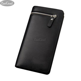 EsoGoal Business Men Wallets Solid PU Leather Purse Long Bifold Wallet Portable Cash Coin Purses Zipper Wallets Male Clutch Bag (Black) - intl