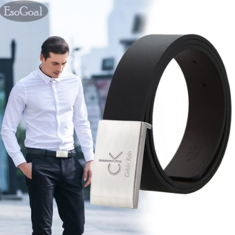 EsoGoal Men's CK Reversible Business Casual Leather Belt With Removable Buckle (Black 1) - intl