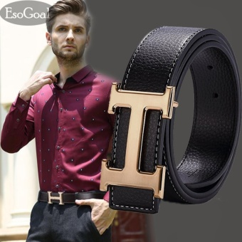 EsoGoal Men's H Reversible Business Casual Leather Belt With Removable Buckle (Black&Gold) - intl