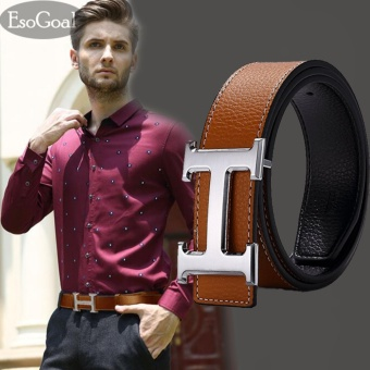 EsoGoal Men's H Reversible Business Casual Leather Belt With Removable Buckle (Brown&sSilver,120cm) - intl