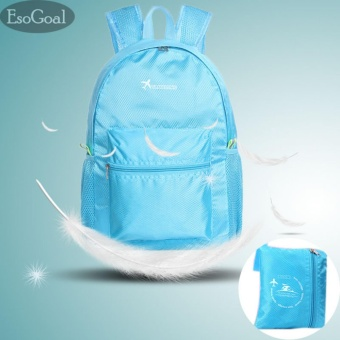 EsoGoal Ultralight Handy Travel Backpack Waterproof Packable Bag Hiking Daypack Foldable Camping Outdoor Cycling School Backpack -Light Blue - intl