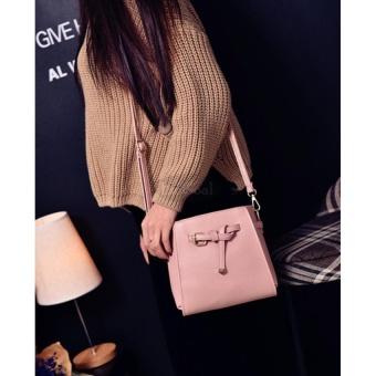 EsoGoal Women's PU Leather Handbag+Shoulder Bag+Purse+Card Holder 4pcs Set Tote Pink - intl - 5