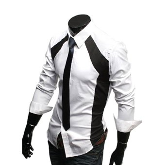ETOP Mens Luxury Stylish Slim Long Sleeve T-Shirts Black/White(White) (Intl)