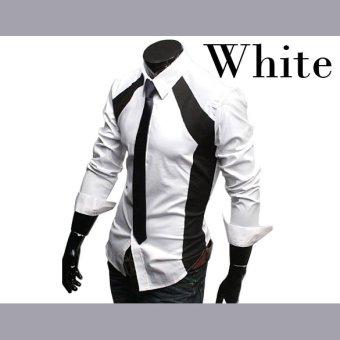 ETOP Mens Luxury Stylish Slim Long Sleeve T-Shirts Black/White(White) (Intl) - 4