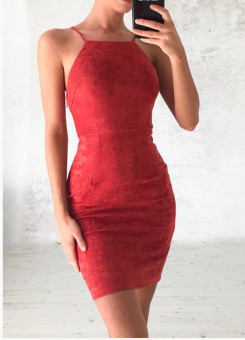 European and American back bandage cloth strap pencil dress sheath dress (Red)