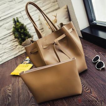 European and American big capacity women's handbag bag women's bag (Brown)