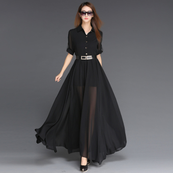 European and American black spring and summer elegant chiffon dress (Black)