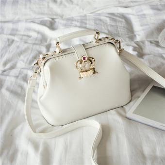 European and American candy color versatile shoulder bag New style women's bag (White)