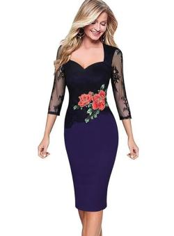 European and American embroidered New style autumn dress (Purple)