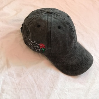 European and American embroidered Rose baseball cap Stylish cap (Dark Grey)