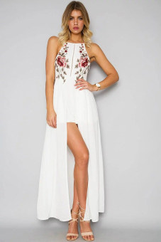 European and American embroidered rose flowers backless dress (White Flower) (White Flower)