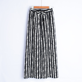 European and American high-waisted women's pants striped wide leg pants (Ink striped)