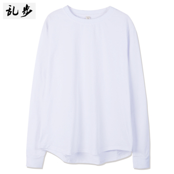 European and American men long section solid color round neck t-shirt LOOESN long-sleeved t-shirt (082 solid color long T white)