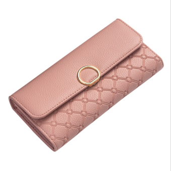 European and American multi-functional large capacity clutch bag New style women's wallet (Pink)