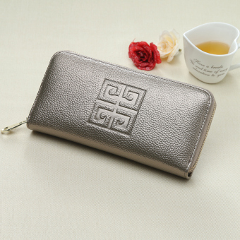European and American multi-functional zip clutch bag wallet (Silver color)