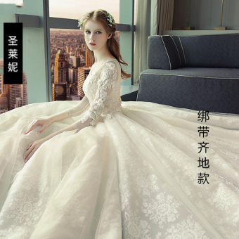 European and American New style bride long-sleeved wedding veil dress (Bandage cloth models Qi)