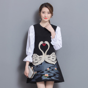 European and American New style embroidered ankle-length round neck dress
