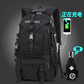 European and American New style travel large capacity school bag (479 charging version black with chest pack)