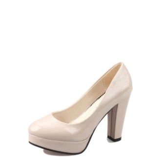 European and American patent leather Black Women's Singles shoes round high-heeled shoes (Nude color)