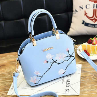 European and American PU Leather women's shoulder Shell bag women's bag (Hongda women's bag sky blue color)