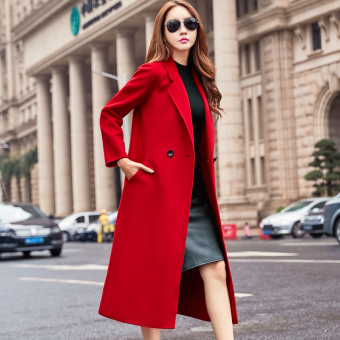European and American red color female mid-length woolen coat