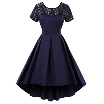 European and American short sleeved lace irregular small dress (Dark blue color)