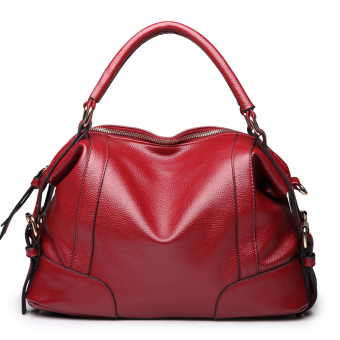 European and American soft leather New style fashion mommy bag leather women's bag (Wine red color)