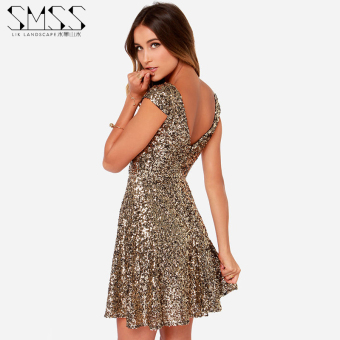 European and American spring and summer New style gold sequin dress