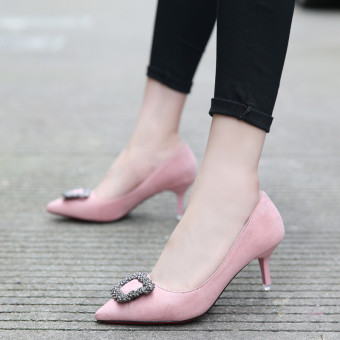 European and American spring pointed fine with the heel shoes Shoes (Pink color [with high cm 5cm])