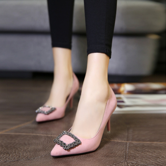 European and American spring pointed fine with the heel shoes Shoes (Pink color [with high cm 8cm])