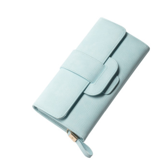 European and American style student purse leather wallet clutch bag (Light Blue)