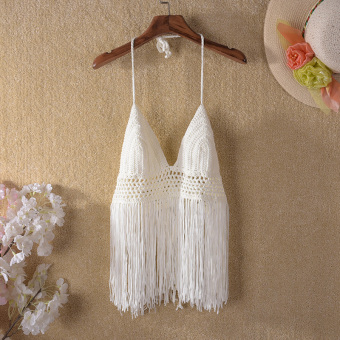 European and American tassel New style halter Ms. Top swimming clothing (White)