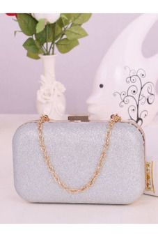 Evening Party Glitter Chain Hand Bags Clutch Box (Silver)