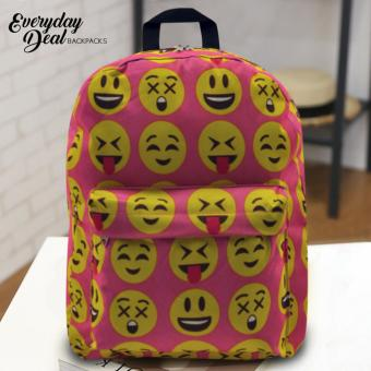 Everyday Deal Emoji Fashion Backpack School Casual Daypack Bag(Pink)