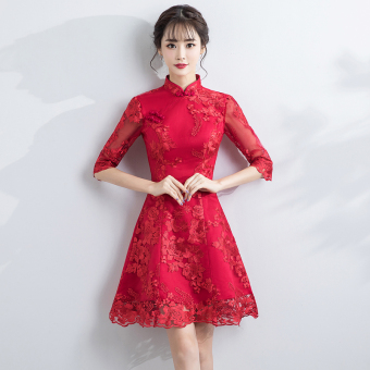 Everyday improved cheongsam dress (Wine red color)