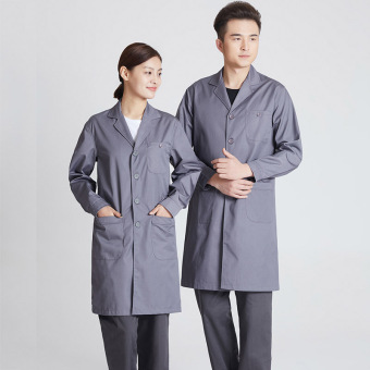 Fabric breathable soft gown lab coat (Long-sleeved gray spring and autumn dress)