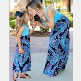 Family Matching Clothes Flower Printing Christmas Outfit Mommy and Daughter Long Dress (Mom) - intl