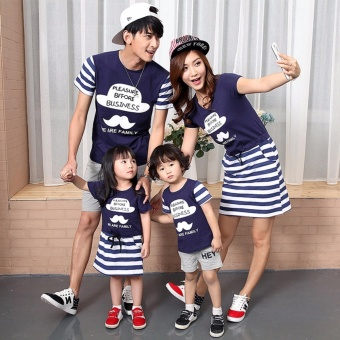 Family Matching Clothes Short Sleeve Father Mother Kids OutfitsFather and Son Fashion Cotton T-shirt (Father) - intl