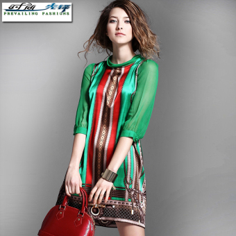 Famous European and American mulberry silk New style slimming dress